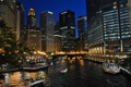 Картинка США, река, фото, ночь, катера, город, дома