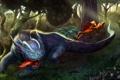 Картинка лес, хищник, арт, бег, существа, охота