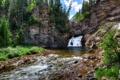 Картинка деревья, горы, река, скалы, водопад