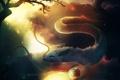 Картинка небо, усы, облака, цветы, дерево, шар, существо