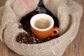 Картинка кофе, горячий, зерна, пар, чашка, напиток, мешок