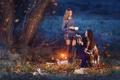 Картинка осень, природа, девушки, книги
