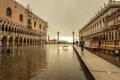 Картинка небо, вода, наводнение, Италия, Венеция, колонна, дворец дожей