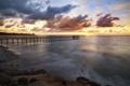 Картинка море, облака, закат, берег, пристань, причал, пирс