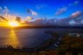 Картинка закат, облака, горизонт, небо, солнце, Новая Зеландия, море