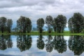 Картинка небо, облака, деревья, река, Канада, Canada, British Columbia