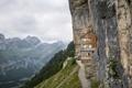 Картинка обрыв, скалы, ступеньки, здание, горы, лестница, дом