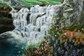Картинка вода, цветы, природа, водопад, живопись