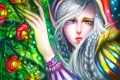Картинка девушка, цветы, арт, капюшон, эльфийка, косы