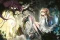 Картинка лес, девушка, замок, змея, аниме, Alice in Wonderland, чеширский кот