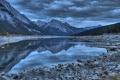 Картинка небо, горы, тучи, озеро, камни
