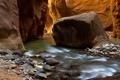 Картинка река, камни, скалы, каньон, ущелье, Zion National Park, сша