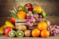 Картинка яблоки, апельсины, киви, виноград, фрукты, ящик, мандарины