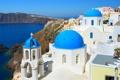 Картинка море, горы, дома, Санторини, Греция, церковь, купола