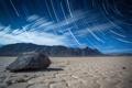 Картинка выдержка, пустыня, The Racetrack, камень, Death Valley, горы, ночь