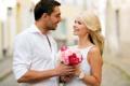 Картинка взгляд, девушка, цветы, пара, мужчина