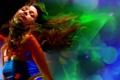 Картинка цвета, девушка, круги, синий, движение, волосы, танец