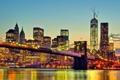 Картинка мост, огни, река, дома, вечер, New York City, World Trade Center