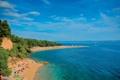 Картинка море, пляж, деревья, природа, людии