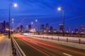 Картинка дорога, ночь, огни, дома, Япония, Токио, фонари