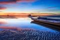 Картинка песок, море, закат, отражение, лодка, отлив, мель