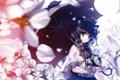 Картинка взгляд, девушка, деревья, цветы, улыбка, котенок, зонт
