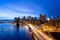 Картинка мост, город, огни, вечер, нью-йорк