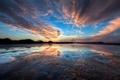 Картинка облака, отражение, небо, озеро