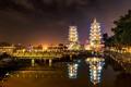 Картинка Тайвань, причал, Taiwan, ночь, огни, Китайская Республика, город