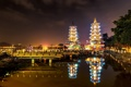 Картинка ночь, город, огни, причал, подсветка, залив, Тайвань