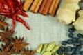 Картинка корица, имбирь, бадьян, красный перец