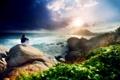 Картинка девушка, скалы, небо, океан