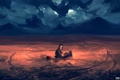 Картинка облака, мальчик, арт, песочный замок, ведёрко, совок