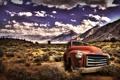Картинка поле, небо, горы, cars, auto, пикап, облока