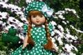 Картинка девочки, коса, игрушки, фото, кукла, настроение, платье