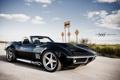 Картинка небо, облака, чёрный, Corvette, Chevrolet, шевроле, black