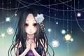 Картинка цветок, звезды, планеты, арт, девочка, кулон, красные глаза
