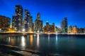 Картинка ночь, город, огни, река, небоскребы, Чикаго, Иллинойс