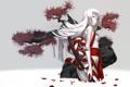 Картинка взгляд, вода, девушка, оружие, дерево, меч, лепестки