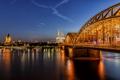 Картинка небо, мост, огни, река, дома, вечер, Германия