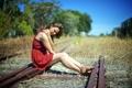 Картинка железная дорога, девушка, лето