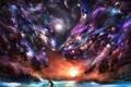 Картинка животные, вода, звезды, свет, портал, галактика, мужчина