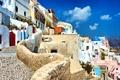 Картинка природа, город, камни, дома, брусчатка, Санторини, Греция