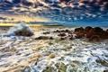 Картинка море, волны, пена, брызги, камни, рассвет, остров