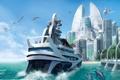Картинка город, яхта, Anno 2070