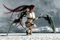 Картинка девушка, поверхность, тучи, оружие, меч, Heavenly Sword, арт