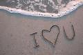 Картинка море, пена, любовь, надпись, волна, Песок, признание