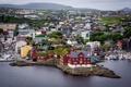 Картинка пейзаж, Торсхавн, небо, дома, Дания, море, Фарерские острова