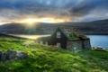 Картинка небо, трава, солнце, дом, река