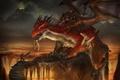 Картинка оружие, скалы, дракон, воин, арт, вулканы, лава